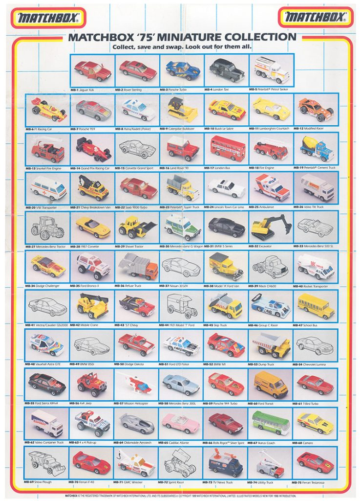 1989 Matchbox 1-75 Collector's Poster